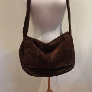 Holt Renfrew brown suede messenger bag